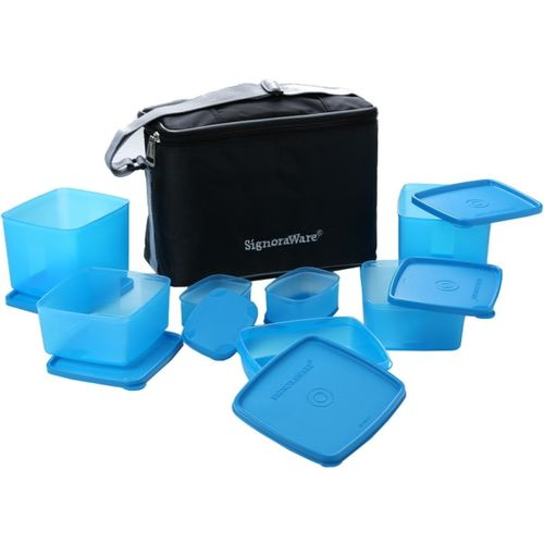 Signoraware Picnic Lunch Box with Bag - 350 ml, 100 ml, 500 ml, 850 ml Plastic Food Storage(Pack of 7, Blue)