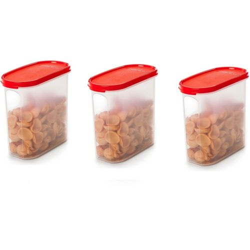 Signoraware - 1700 ml Plastic Grocery Container(Pack of 3, Red)