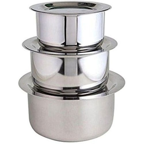 Bhalaria Stainless Steel Tope Set of 3 with Suitable Lid (14cm,15cm,16cm) Pot 1.2 L, 1.5, 2 with Lid(Stainless Steel)