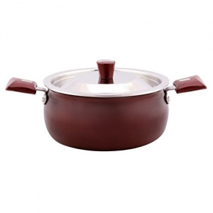 Nirlep Select Plus J Class Non-Stick Aluminium Induction Handi with Lid, 5.5 litres/Maroon
