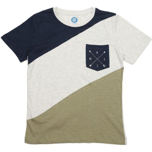 Yk Boys Self Design Cotton Blend T Shirt(Grey, Pack of 1)