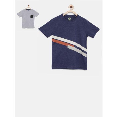 Yk Boys Striped Cotton Blend T Shirt(Blue, Pack of 1)