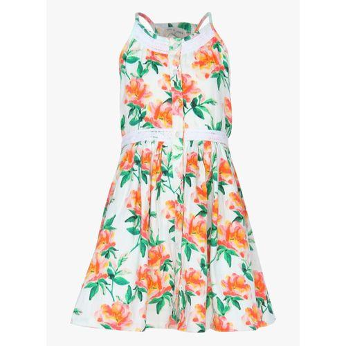 Gini & Jony Girls Midi/Knee Length Casual Dress(Multicolor, Sleeveless)