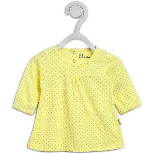 Gini & Jony Girls Midi/Knee Length Casual Dress(Yellow, Full Sleeve)