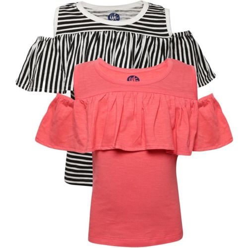 Yk Girls Casual Cotton Blend Top(Red, Pack of 2)