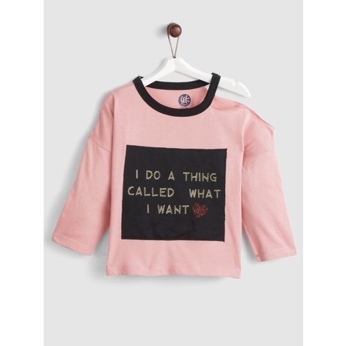 Yk Girls Cotton Rayon Blend Top(Pink, Pack of 1)