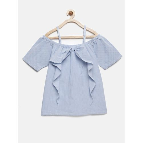 Yk Girls Pure Cotton Top(Blue, Pack of 1)