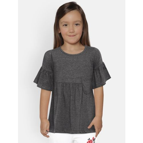 Yk Girls Polyester Blend Peplum Top(Grey, Pack of 1)