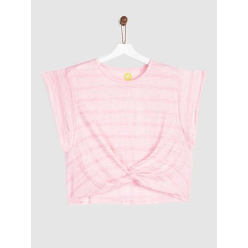 Yk Girls Cotton Blend Top(Pink, Pack of 1)