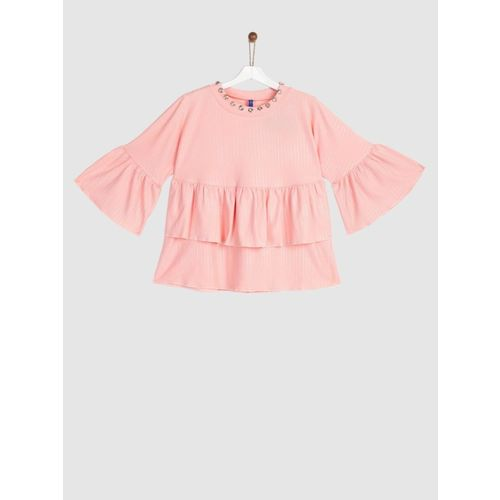 Yk Girls Polyester Blouson Top(Pink, Pack of 1)
