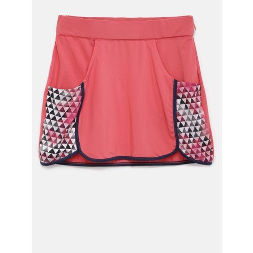 Yk Printed Girls Straight Pink Skirt