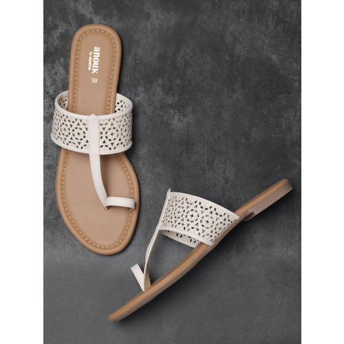 Anouk Women White Solid One Toe Flats