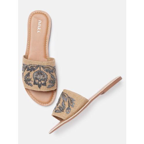 IMARA Women Beige Woven Design Open Toe Flats
