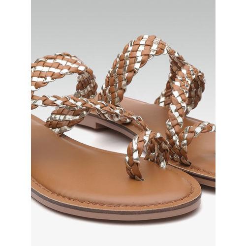 Carlton London Women Brown & Gold-Toned Braided One Toe Flats