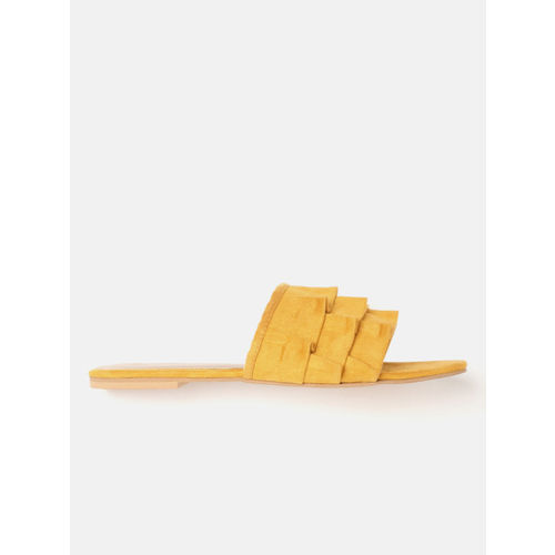 DressBerry Women Mustard Yellow Solid Open Toe Flats