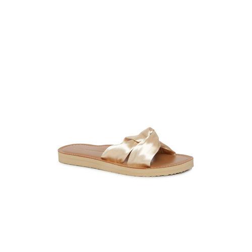 Tommy Hilfiger Beige Solid Open Toe Flats
