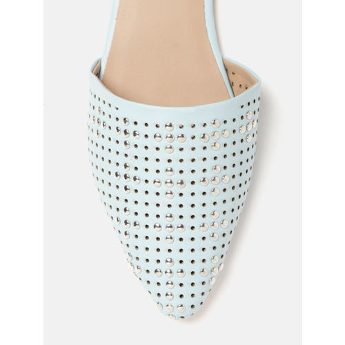 DressBerry Women Mint Green Studded Mules with Laser Cuts