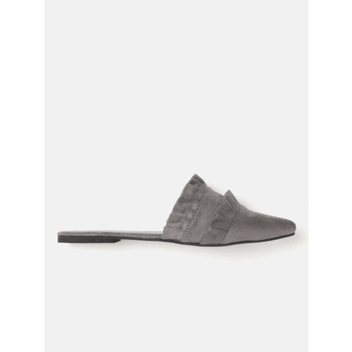DressBerry Women Charcoal Grey Solid Mules