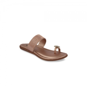 Shoetopia Women Copper-Toned Solid One Toe Flats