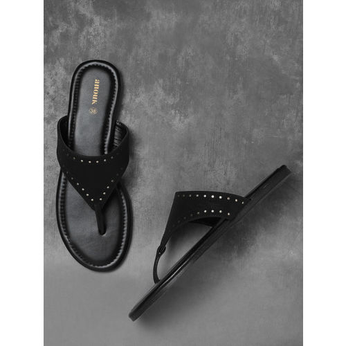 Anouk Black Solid Open Toe Flats with Laser Cuts