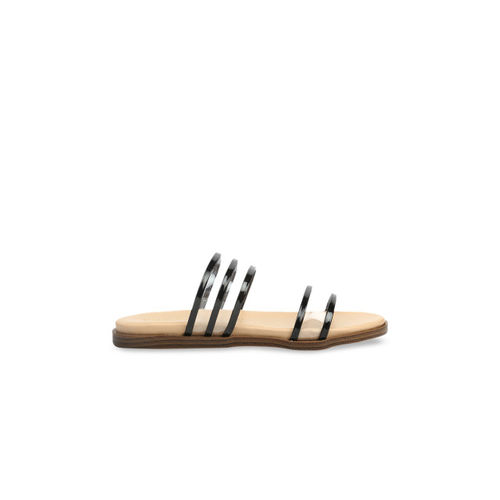 VALIOSAA Women Black Solid Synthetic Patent Open Toe Flats