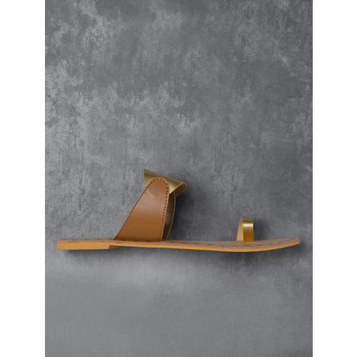 Anouk  Gold-Toned & Brown Colourblocked One Toe Flats