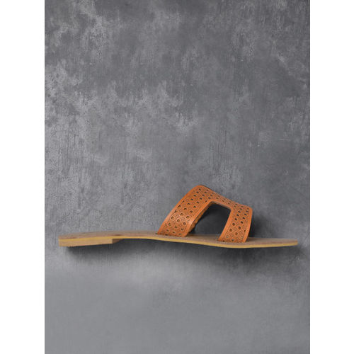 Anouk Women Tan Brown Solid Open Toe Flats with Laser Cuts