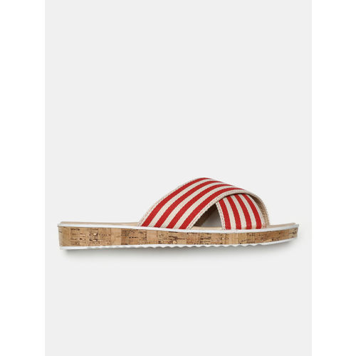 Mast & Harbour Women Red Striped Open Toe Flats