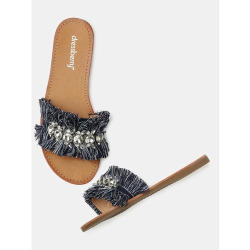 DressBerry Women Blue Embellished Open Toe Flats
