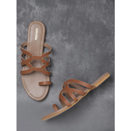 Anouk Women Brown Solid One Toe Flats