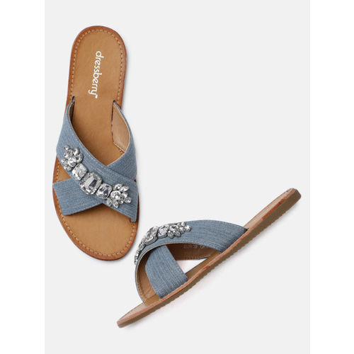 DressBerry Women Blue Solid Canvas Open Toe Flats