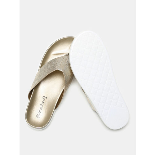DressBerry Women Gold-Toned Solid Open Toe Flats