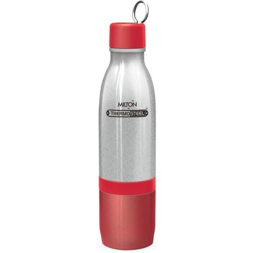 Milton Thermosteel Vaccum Insulated Hot & Cold Water Bottle, TOP 500 ml & BOTTOM 300 ml 800 ml Bottle(Pack of 1, Red)
