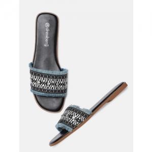DressBerry Women Blue Woven Design Open Toe Flats