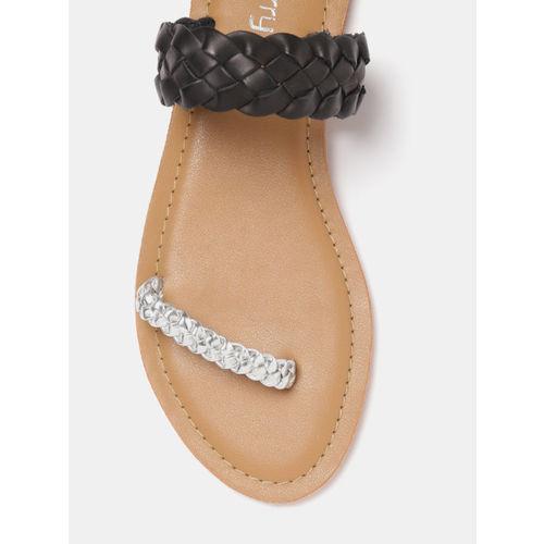 DressBerry Women Black & Silver-Toned Braided Open Toe Flats