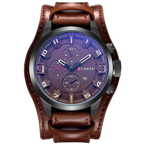 Curren Black Dial Genuine Leather Date Display Casual Men's Watch Analog Watch - For Men