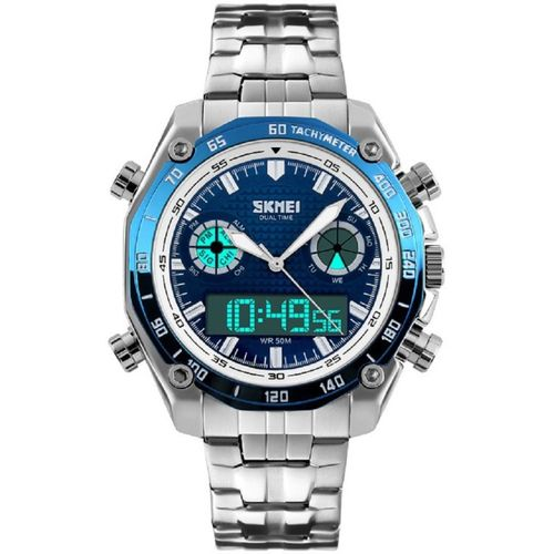 Skmei 1204 Blue Stainless Steel Chronograph Analog Digital Smart Analog Watch - For Men