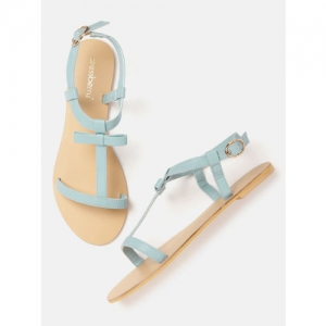 DressBerry Blue Synthetic Solid Open Toe Flats