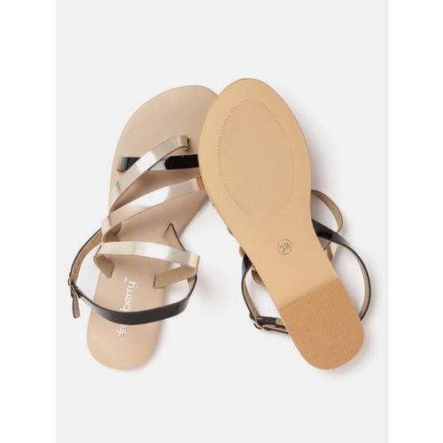 DressBerry Women Rose Gold-Toned & Black Colourblocked Open Toe Flats