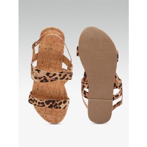 DOROTHY PERKINS Women Beige & Brown Leopard Print Open Toe Flats
