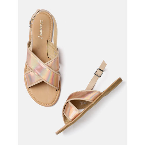DressBerry Women Rose Gold-Toned Solid Open Toe Flats