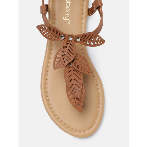 DressBerry Women Tan Brown Solid Open Toe Flats