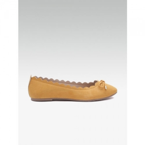 DOROTHY PERKINS Women Mustard Yellow Solid Bow Detail Ballerinas