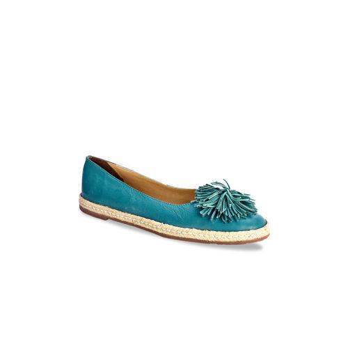 20e9923826702 Buy Eske Women Blue Solid Leather Ballerinas online   Looksgud.in