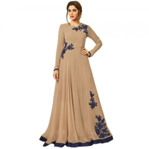 b4d91da0aaa28 Hi Fi Fashions Latest Designer Stylish Color Beige Look Wedding Wear Gowns  Collection Georgette anarkali semi