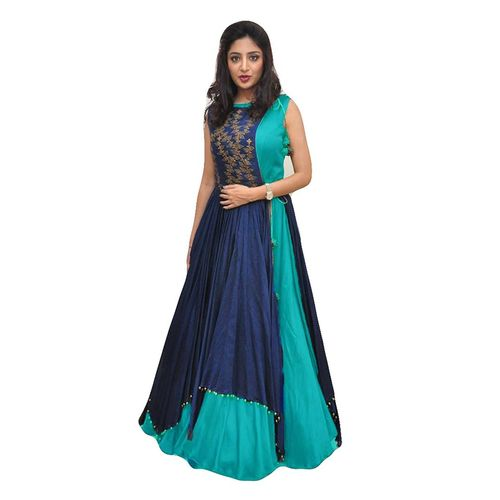 V-KARAN Women's Bangalore Silk Blue Party Wear Designer Semi-stitched Gown