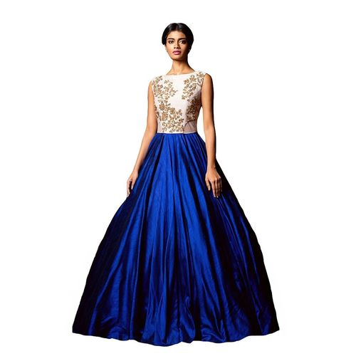 Saadhvi Blue Silk Embroidered Semi Stitched Gown