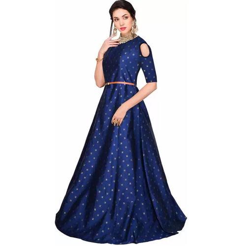 blue jacqard gown