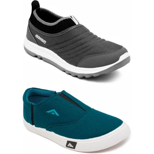 Asian Walking Shoes,Gym Shoes,Sports Shoes,Training Shoes Running Shoes For Men(Green, Grey)
