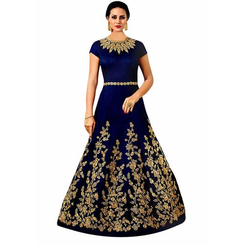 V-KARAN Vkaran Dark Blue Taffeta Silk Embroidered Gown